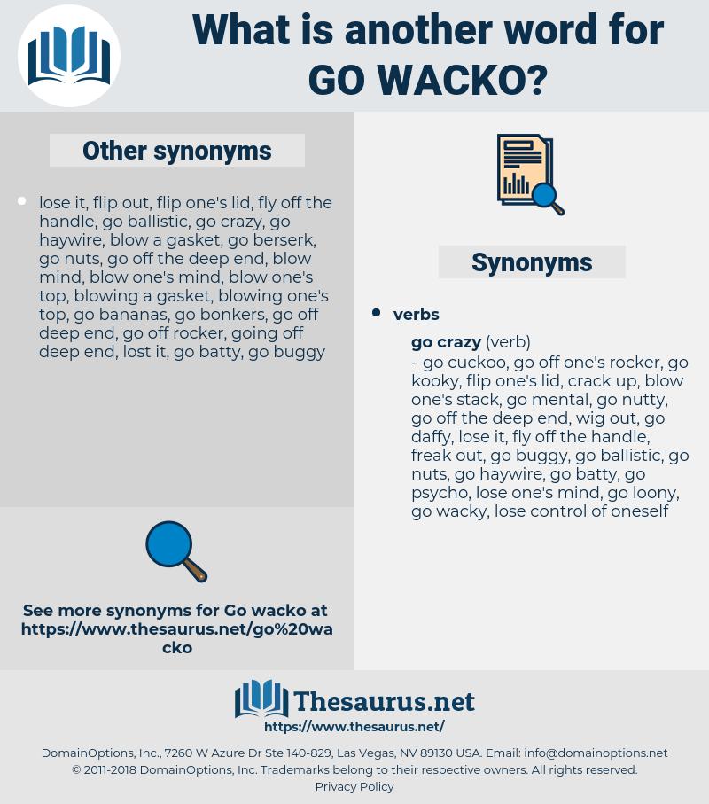 go wacko, synonym go wacko, another word for go wacko, words like go wacko, thesaurus go wacko