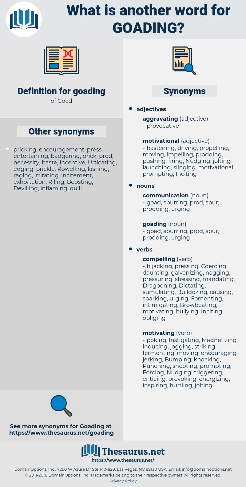 goading, synonym goading, another word for goading, words like goading, thesaurus goading