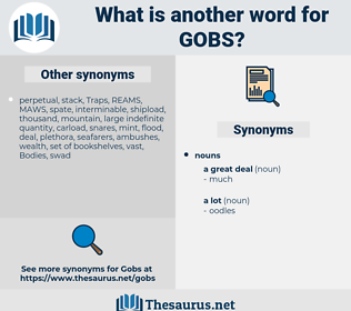 gobs, synonym gobs, another word for gobs, words like gobs, thesaurus gobs