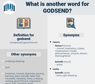 godsend, synonym godsend, another word for godsend, words like godsend, thesaurus godsend