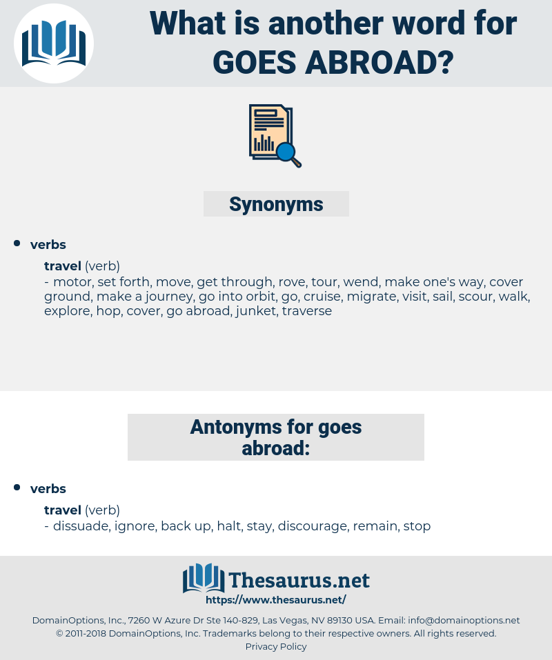 goes abroad, synonym goes abroad, another word for goes abroad, words like goes abroad, thesaurus goes abroad