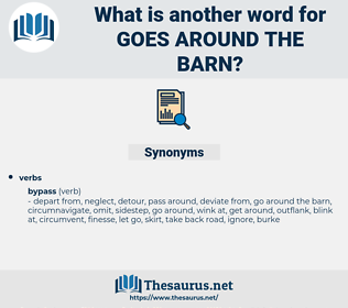 goes around the barn, synonym goes around the barn, another word for goes around the barn, words like goes around the barn, thesaurus goes around the barn