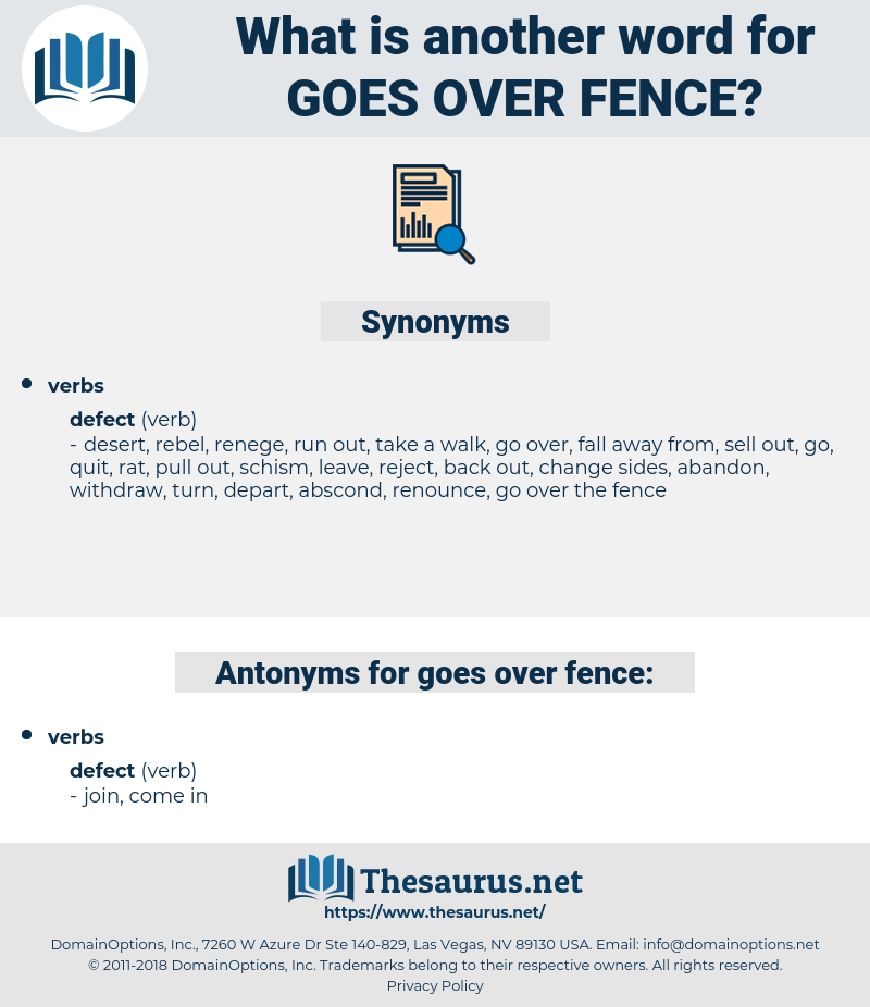 goes over fence, synonym goes over fence, another word for goes over fence, words like goes over fence, thesaurus goes over fence