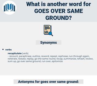 goes over same ground, synonym goes over same ground, another word for goes over same ground, words like goes over same ground, thesaurus goes over same ground