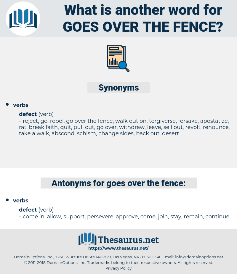 goes over the fence, synonym goes over the fence, another word for goes over the fence, words like goes over the fence, thesaurus goes over the fence