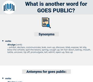 goes public, synonym goes public, another word for goes public, words like goes public, thesaurus goes public