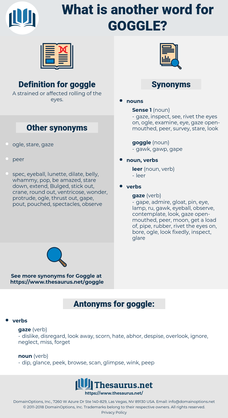 goggle, synonym goggle, another word for goggle, words like goggle, thesaurus goggle