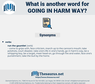 going in harm way, synonym going in harm way, another word for going in harm way, words like going in harm way, thesaurus going in harm way