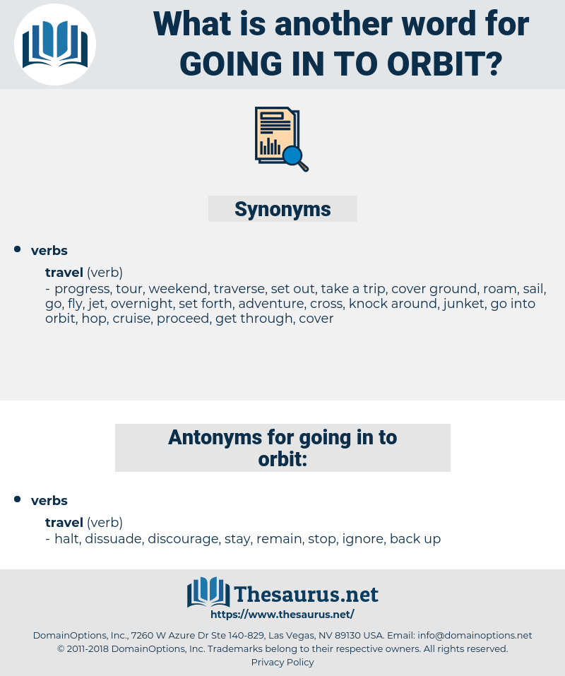 going in to orbit, synonym going in to orbit, another word for going in to orbit, words like going in to orbit, thesaurus going in to orbit