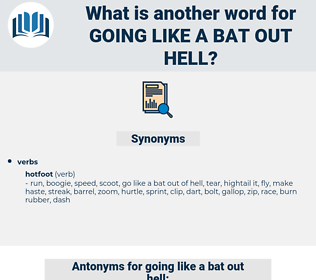 going like a bat out hell, synonym going like a bat out hell, another word for going like a bat out hell, words like going like a bat out hell, thesaurus going like a bat out hell