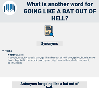 going like a bat out of hell, synonym going like a bat out of hell, another word for going like a bat out of hell, words like going like a bat out of hell, thesaurus going like a bat out of hell