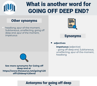 going off deep end, synonym going off deep end, another word for going off deep end, words like going off deep end, thesaurus going off deep end