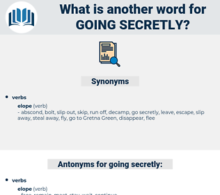 going secretly, synonym going secretly, another word for going secretly, words like going secretly, thesaurus going secretly