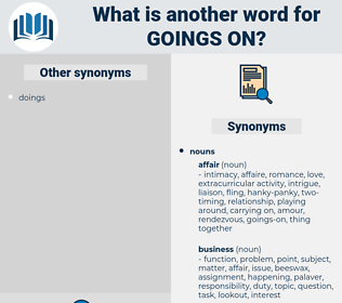 goings-on, synonym goings-on, another word for goings-on, words like goings-on, thesaurus goings-on