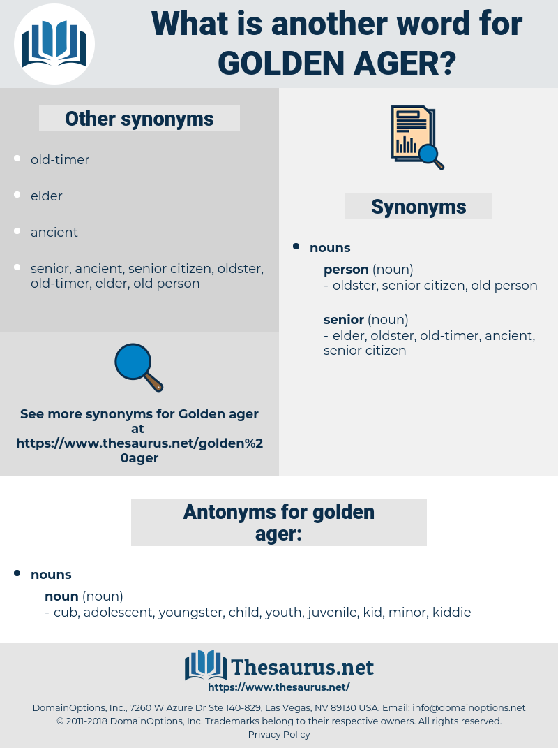 golden ager, synonym golden ager, another word for golden ager, words like golden ager, thesaurus golden ager