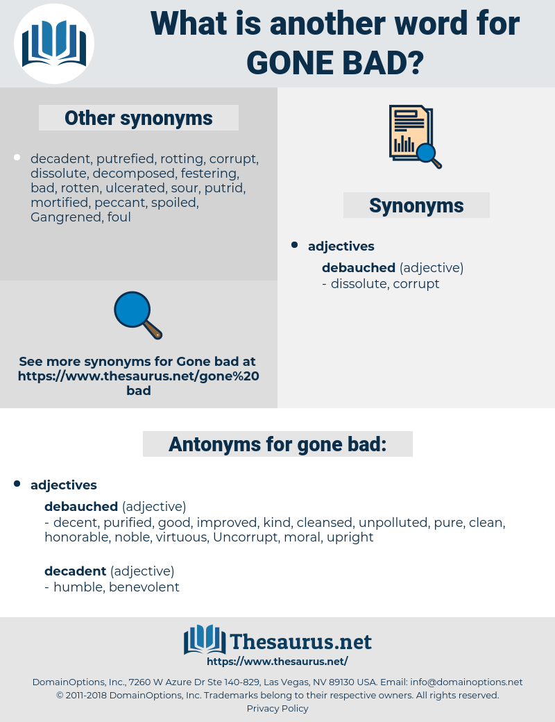 Synonyms For Gone Bad Antonyms For Gone Bad Thesaurusnet