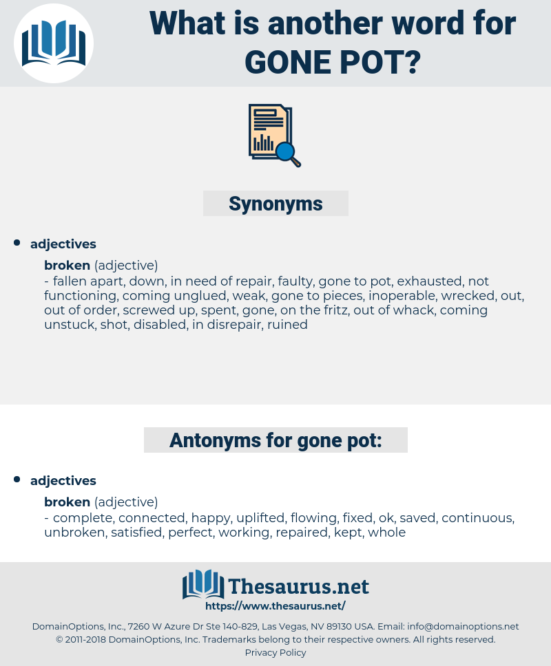gone pot, synonym gone pot, another word for gone pot, words like gone pot, thesaurus gone pot
