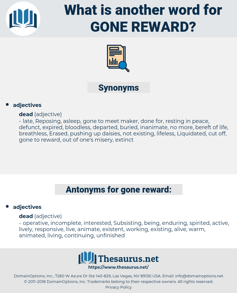 gone reward, synonym gone reward, another word for gone reward, words like gone reward, thesaurus gone reward