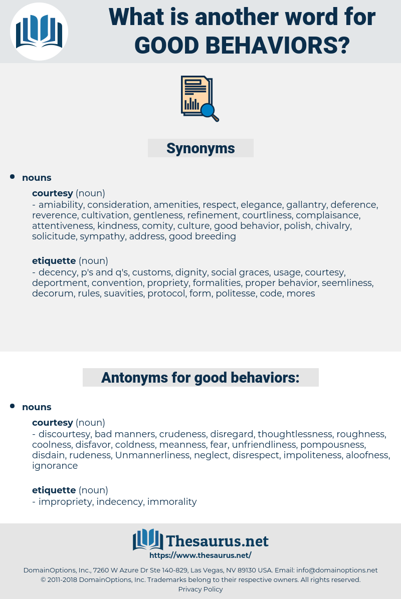good behaviors, synonym good behaviors, another word for good behaviors, words like good behaviors, thesaurus good behaviors