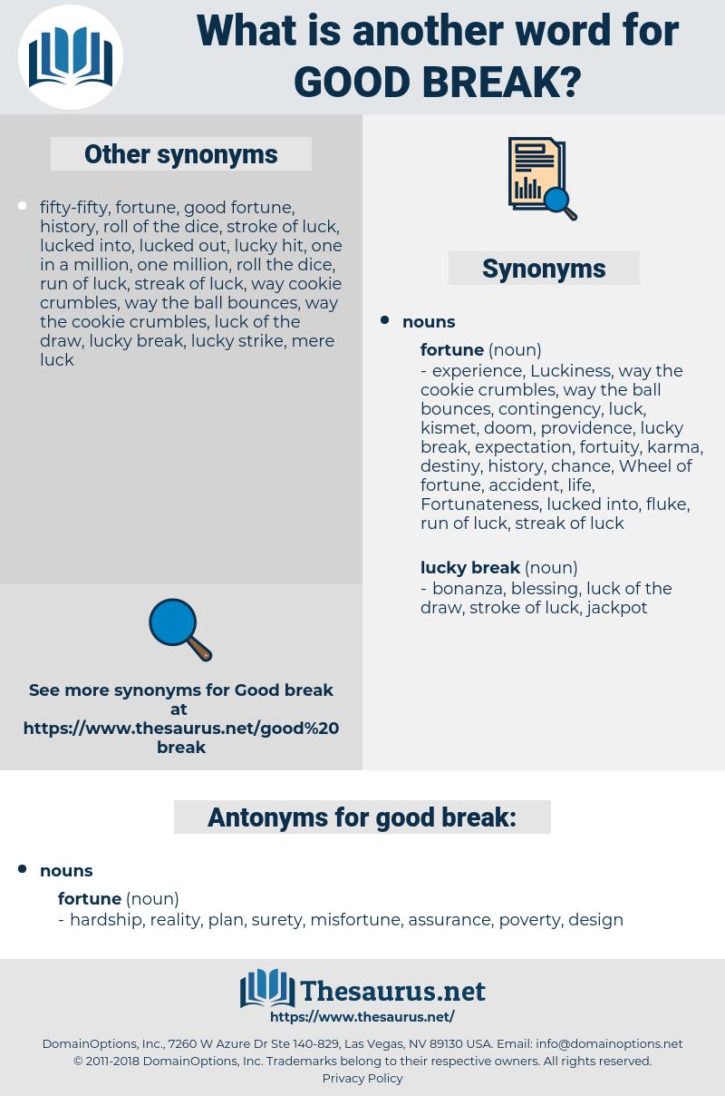 good break, synonym good break, another word for good break, words like good break, thesaurus good break