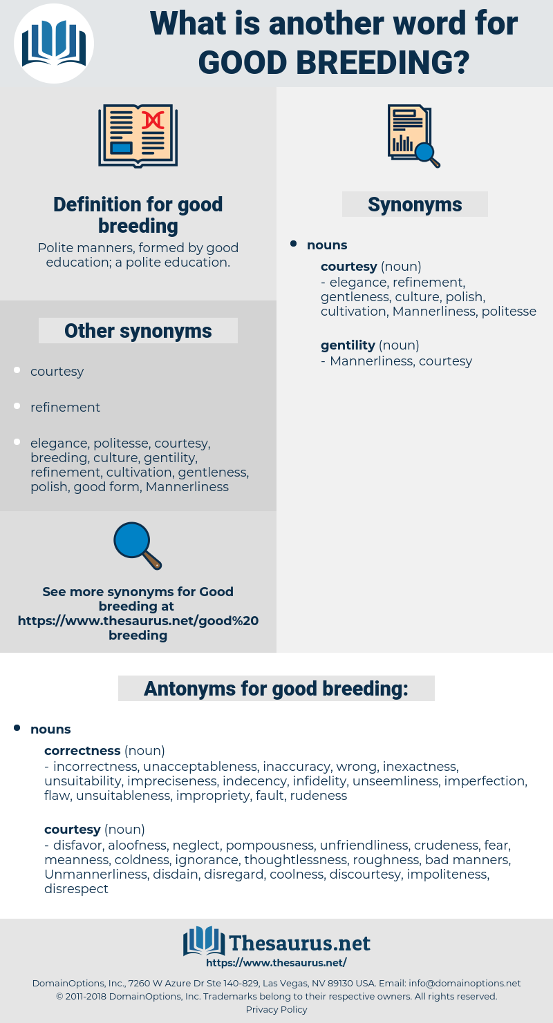 good breeding, synonym good breeding, another word for good breeding, words like good breeding, thesaurus good breeding