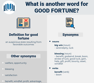 good fortune, synonym good fortune, another word for good fortune, words like good fortune, thesaurus good fortune