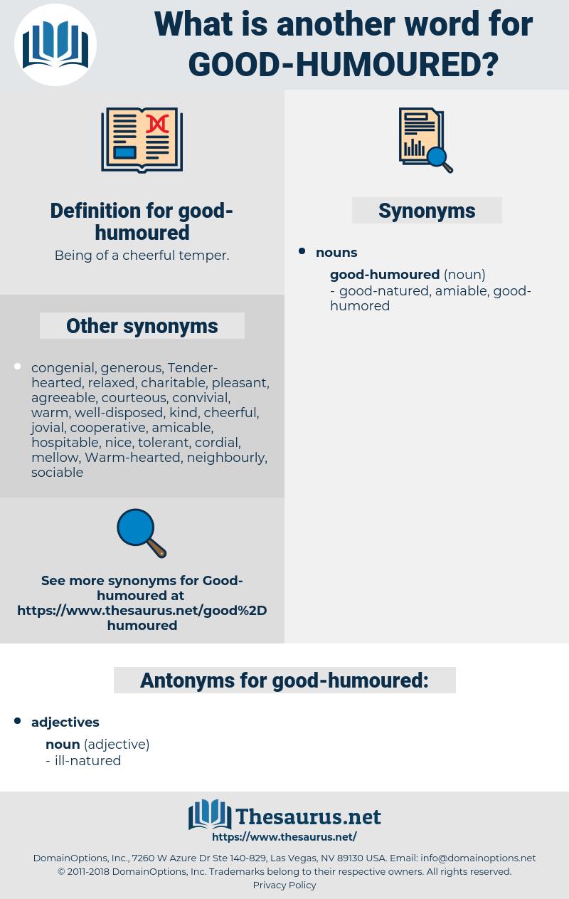 good-humoured, synonym good-humoured, another word for good-humoured, words like good-humoured, thesaurus good-humoured