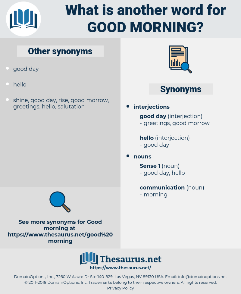 Synonyms For Good Morning Thesaurusnet