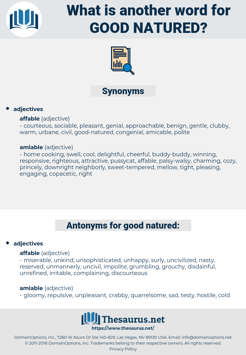 good natured, synonym good natured, another word for good natured, words like good natured, thesaurus good natured