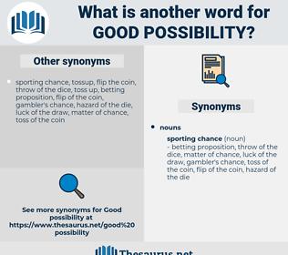 good possibility, synonym good possibility, another word for good possibility, words like good possibility, thesaurus good possibility