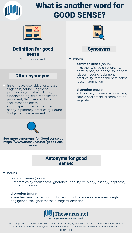 good sense, synonym good sense, another word for good sense, words like good sense, thesaurus good sense