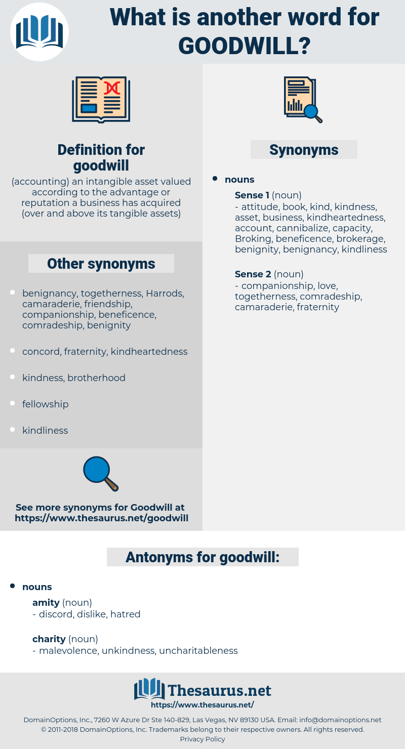 goodwill, synonym goodwill, another word for goodwill, words like goodwill, thesaurus goodwill