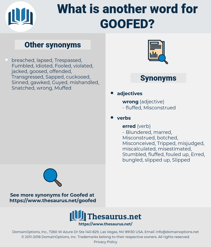 goofed, synonym goofed, another word for goofed, words like goofed, thesaurus goofed