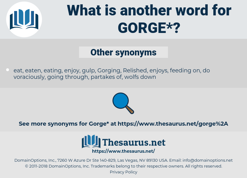 gorge, synonym gorge, another word for gorge, words like gorge, thesaurus gorge