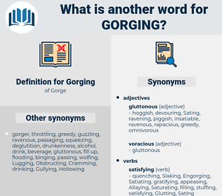 Gorging, synonym Gorging, another word for Gorging, words like Gorging, thesaurus Gorging