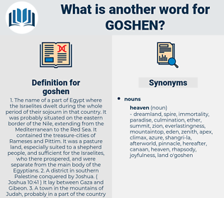 goshen, synonym goshen, another word for goshen, words like goshen, thesaurus goshen