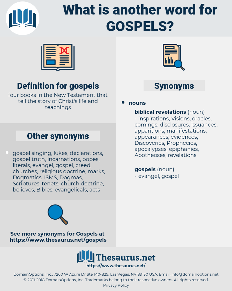 gospels, synonym gospels, another word for gospels, words like gospels, thesaurus gospels