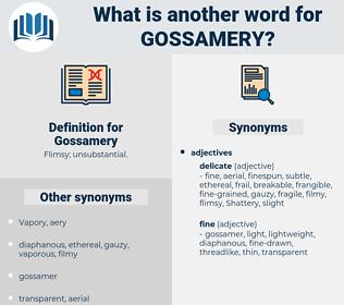 Gossamery, synonym Gossamery, another word for Gossamery, words like Gossamery, thesaurus Gossamery
