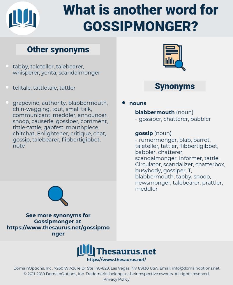 gossipmonger, synonym gossipmonger, another word for gossipmonger, words like gossipmonger, thesaurus gossipmonger