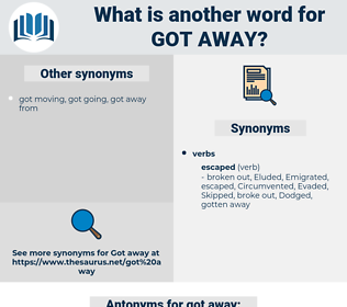 got away, synonym got away, another word for got away, words like got away, thesaurus got away