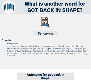 got back in shape, synonym got back in shape, another word for got back in shape, words like got back in shape, thesaurus got back in shape