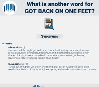 got back on one feet, synonym got back on one feet, another word for got back on one feet, words like got back on one feet, thesaurus got back on one feet