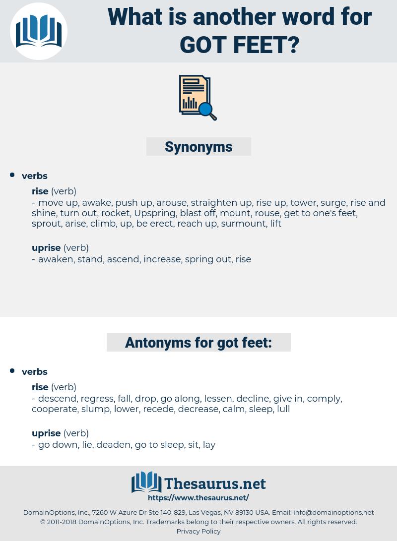 got feet, synonym got feet, another word for got feet, words like got feet, thesaurus got feet