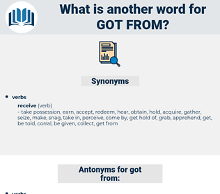 got from, synonym got from, another word for got from, words like got from, thesaurus got from