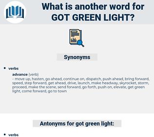 got green light, synonym got green light, another word for got green light, words like got green light, thesaurus got green light