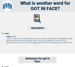 got in face, synonym got in face, another word for got in face, words like got in face, thesaurus got in face