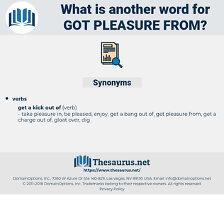 got pleasure from, synonym got pleasure from, another word for got pleasure from, words like got pleasure from, thesaurus got pleasure from