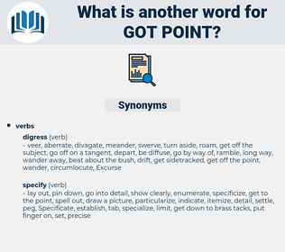got point, synonym got point, another word for got point, words like got point, thesaurus got point