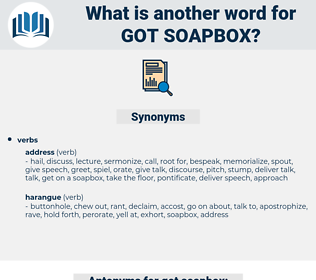 got soapbox, synonym got soapbox, another word for got soapbox, words like got soapbox, thesaurus got soapbox