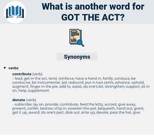 got the act, synonym got the act, another word for got the act, words like got the act, thesaurus got the act